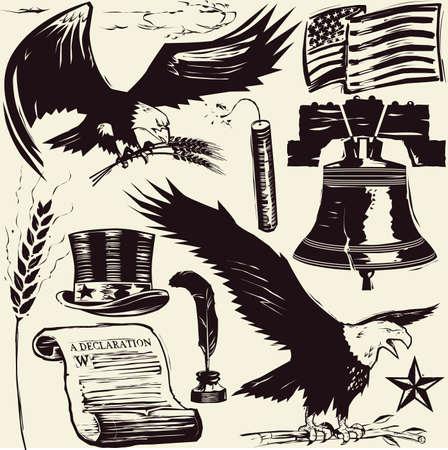 aguila americana: Grabado en madera americana