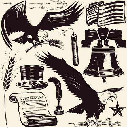 declaration of independence: Woodcut Americana