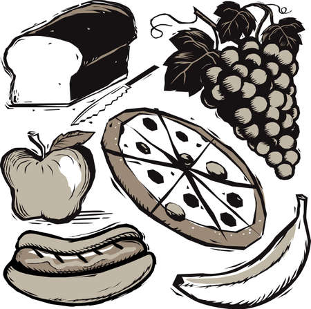 Woodcut Food Collection Vector