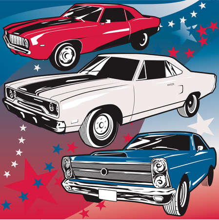 American Muscle Cars Illustration