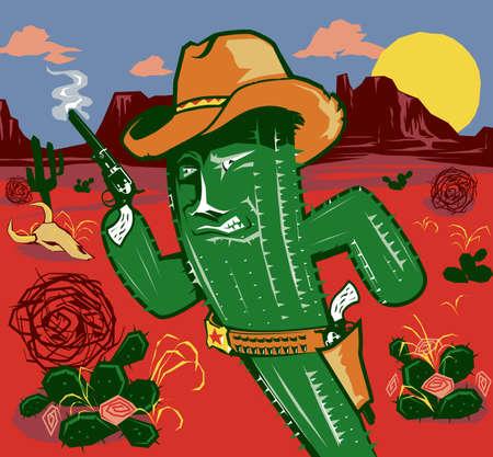 Cactus Cowboy Vector