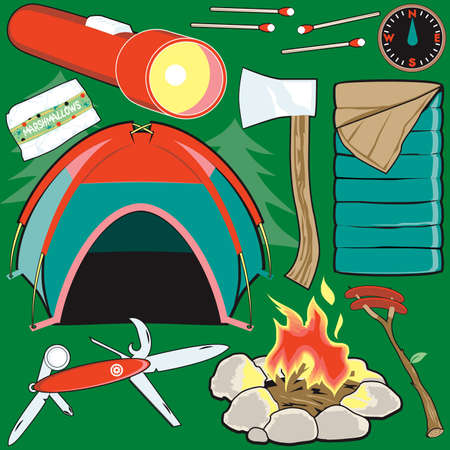 bonfire: Camping Clip Art Illustration