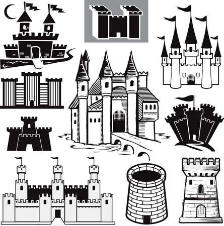xilografia: Castillo de Colección Vectores