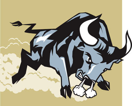 charging bull: Charging Bull Illustration