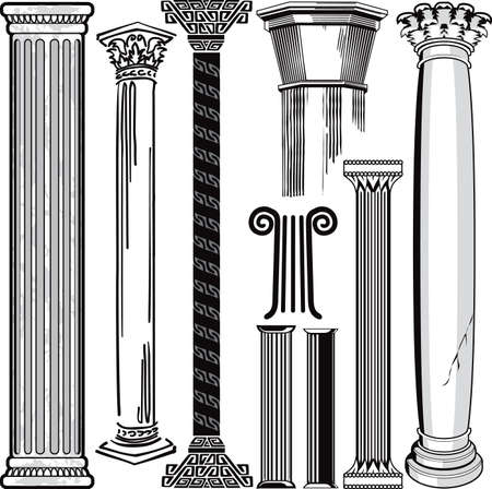 roman pillar: Column Collection Illustration