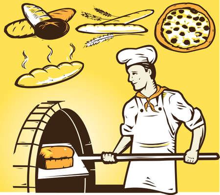 cheese bread: Stone Oven Baker Illustration