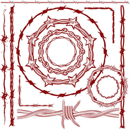 Barbed Wire Collection Stock Illustratie