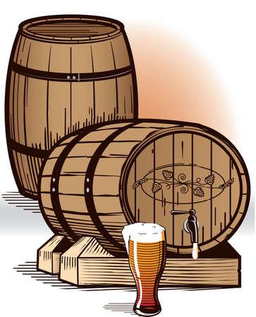brew beer: Barriles de cerveza Vectores