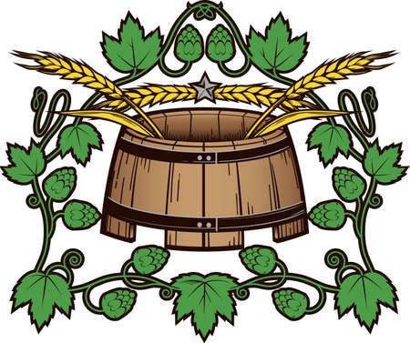 Le blé et le houblon Barrel Banque d'images - 13142551