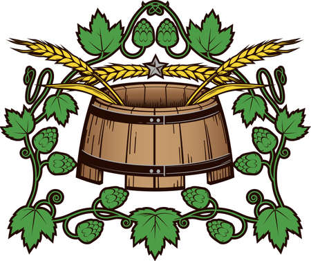 Wheat and Hops Barrel Illustration