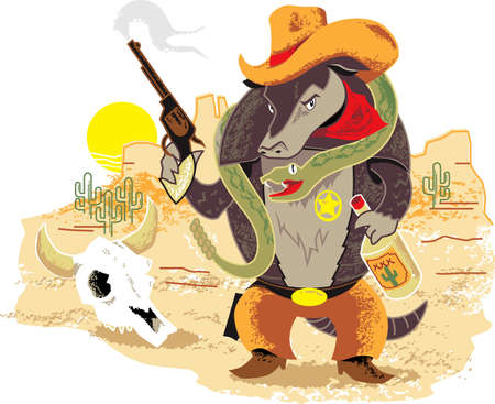 rattlesnake: Wild West Armadillo Illustration
