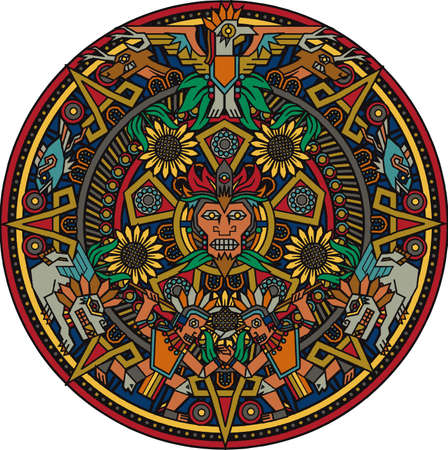 Colorful Aztec Mandala Vector
