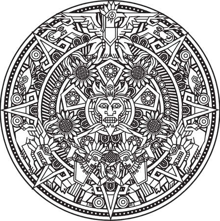 indian fish: Aztec Mandala