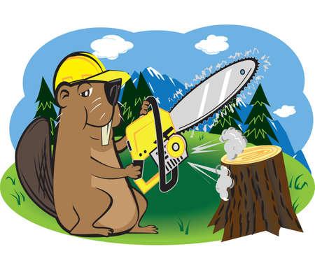 Beaver with Chainsaw Фото со стока - 13142560