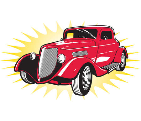 hot rod: Classic Red Street Rod