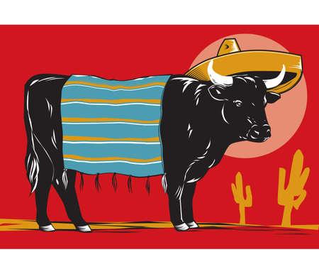 メキシコ産の牛肉  イラスト・ベクター素材
