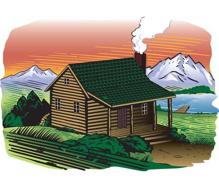 Mountainside Cabin Vector