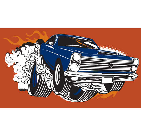 Smoking Muscle Car Vector