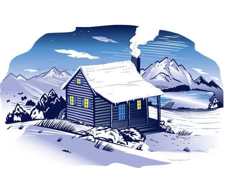 Mountainside: Snowy Cabin Mountainside Ilustracja
