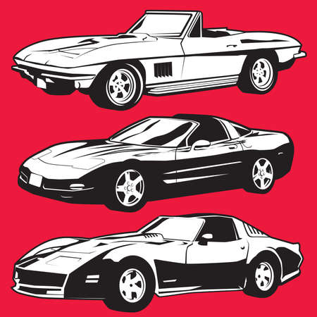 corvette: Three Sports Cars Illustration