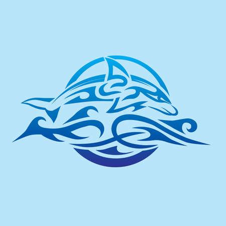 maories: Tribal Delfín Emblema Vectores