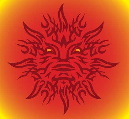 sun: Red Maori Sun Illustration