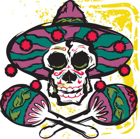 maracas: Calavera Maracas Illustration