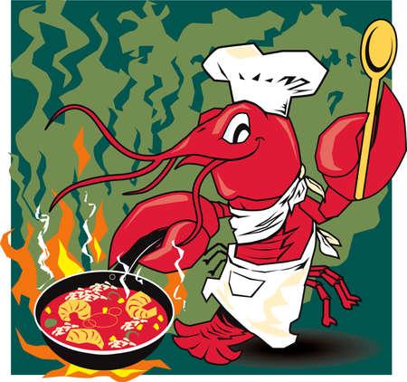 chef caricatura: Cangrejos Chef