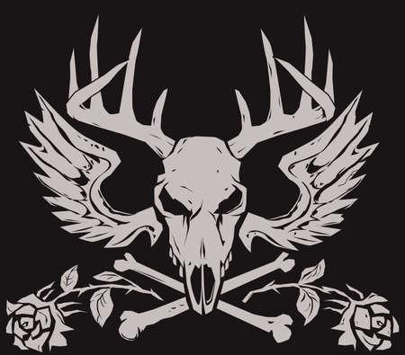 Deer Crossbones Stock Vector - 13232396
