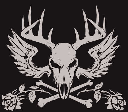 skull and crossbones: Deer Crossbones