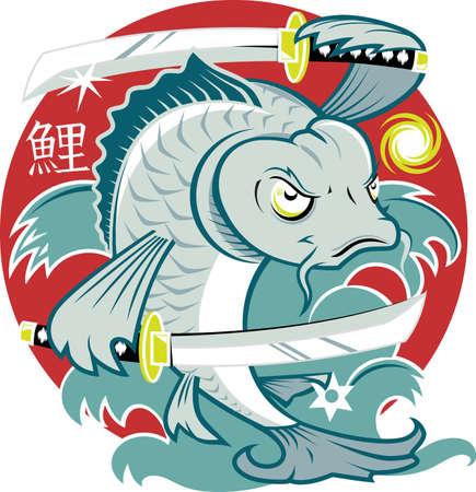 koi fish art: Koi Samurai