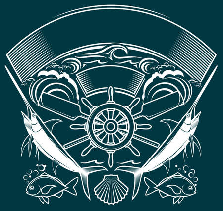 Ship Wheel Crest Stock Vector - 13232358