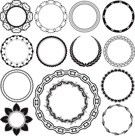 laurel leaf: Ring and Circle Designs Illustration
