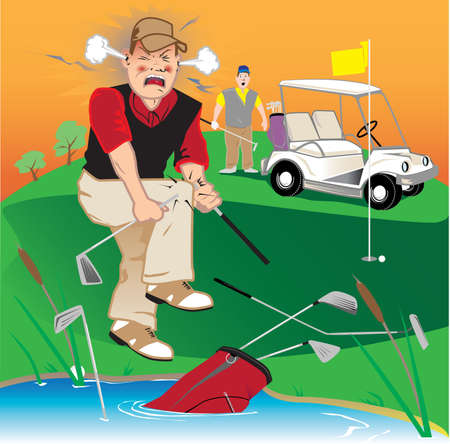 golf cart: Angry Golfer