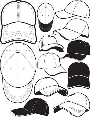 Ball Cap Collectie Vector Illustratie