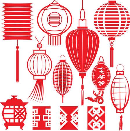 中国のランタンのコレクション  イラスト・ベクター素材