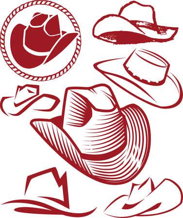 모자: 카우보이 모자 컬렉션 일러스트