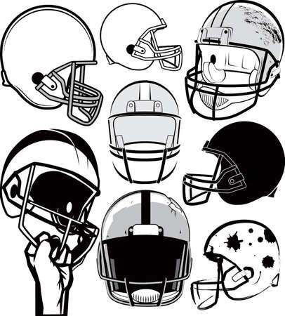 フットボール ヘルメット コレクション  イラスト・ベクター素材
