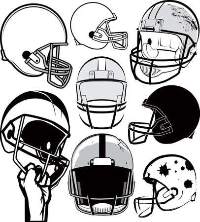 Football Helmet Collection Vector