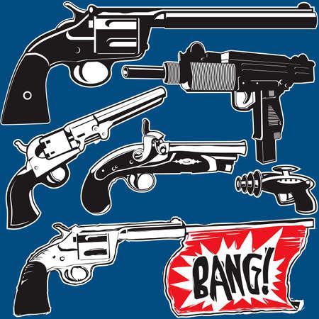 손 총 모음 일러스트