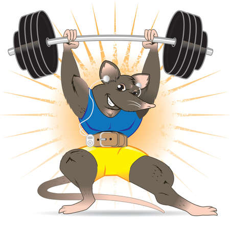 cartoon mouse: Gym Rat Illustration