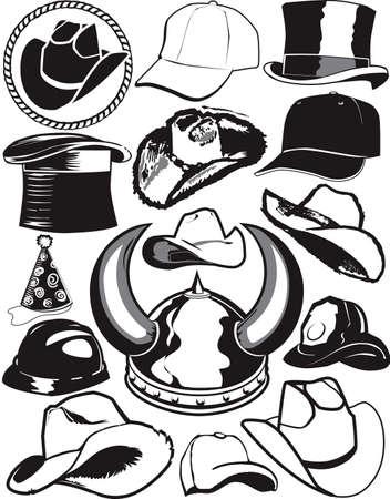 top black hat: Hat Collection Illustration