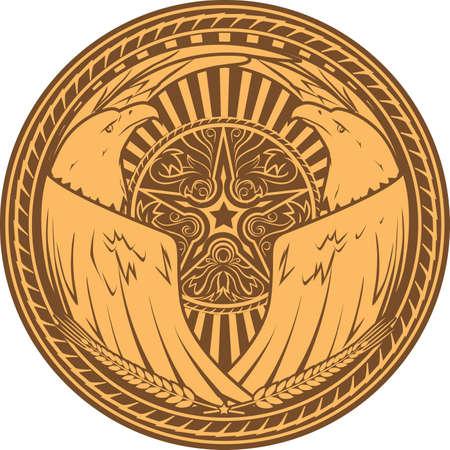Western Eagle Emblem Vector
