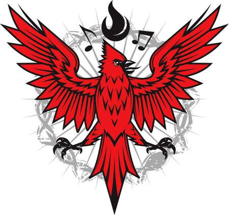 Fiery Cardinal Illustration