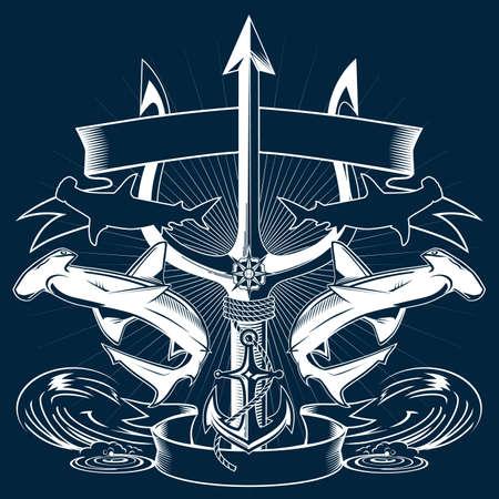 Trident Sea Crest Vector