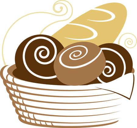 パンのバスケット  イラスト・ベクター素材