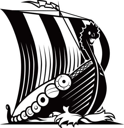 ancient ships: Viking Ship Illustration