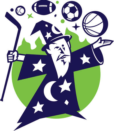 Fantasy Sports Wizard Vector