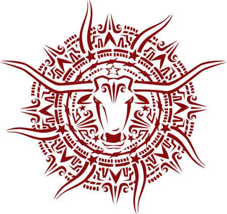 Aztec Longhorn Sunburst Vector