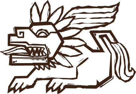aztec art: Aztec Winged Lion
